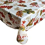Thanksgiving Swaying Leaves Fall and Autumn Fabric Print Tablecloth, No Iron and Stain Resistant, 60 Inch x 120 Inch Oblong/Rectangle, Ivory