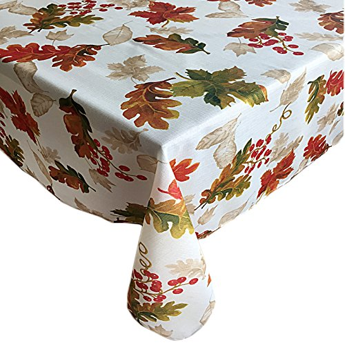 Thanksgiving Swaying Leaves Fall and Autumn Fabric Print Tablecloth, No Iron and Stain Resistant, 60 Inch x 144 Inch Oblong/Rectangle, Ivory