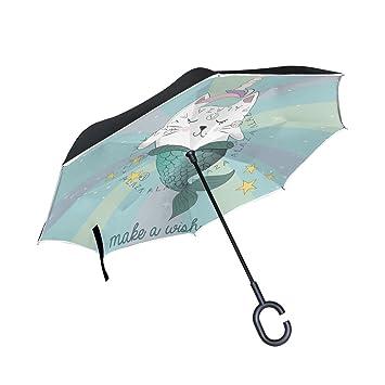 FOLPPLY - Paraguas invertido de Sirena Unicornio, Doble Capa, Impermeable, para Coche Lluvia