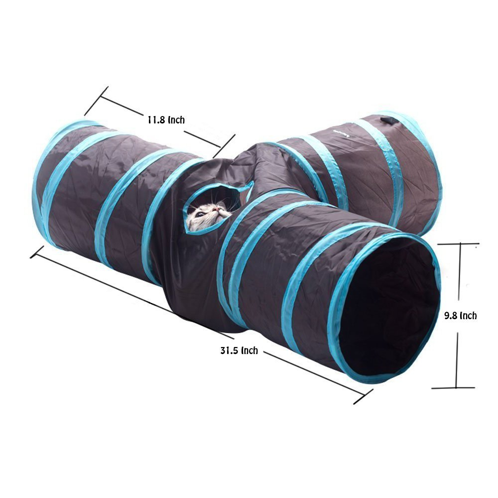 BBEART Pet Tunnels, Collapsible 3 Ways Play Toy Tunnel with Ball Tube Fun for Cat Kitten Puppy Rabbit Small Pets etc (Blue) by BBEART (Image #3)