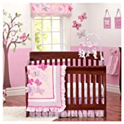 Brandream Butterfly Floral Crib Bedding Sets Girls Bumpers Shabby Baby Bedding Chic Pink, Ideal, 7 Pieces