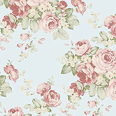 Norwall AB27615 Grand Floral Wallpaper - Floral Theme in Turquoise, Red, Green - Double Roll