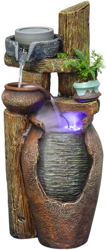 Amazon Com Indoor Relaxationfountain Outdoor Indoor 3 Tier Jar Waterfall Fountain Floor Fountain With Led Light 24 4 Stone Bowl Outdoor Water Feature For Gardens And Patios Tabletop Water Fountain Home Kitchen