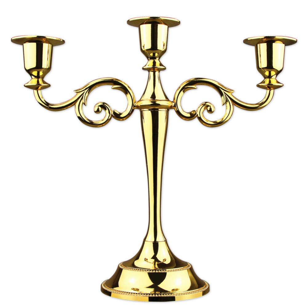 3-arms metal candle holder 27cm height candle stick wedding candle stand (Gold)