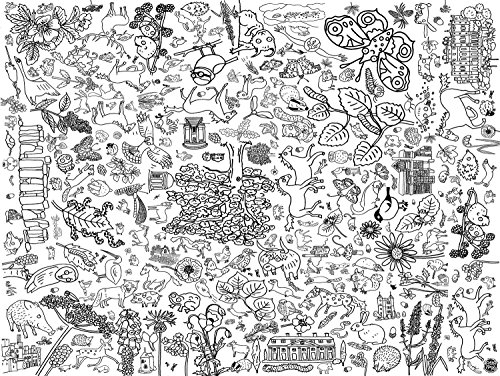 Eggnogg Colour-in Durable White Paper Tablecloth 37.5-Inch by 50-Inch, Countryside, 4 - 4 Side Tablecloth