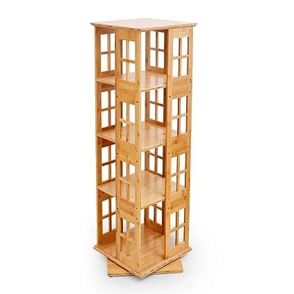 Shelves Bamboo Swivel Bookshelf 360 Rotating Bookcase Floor Standing Childrens Divider Bookrack Home Office Storage