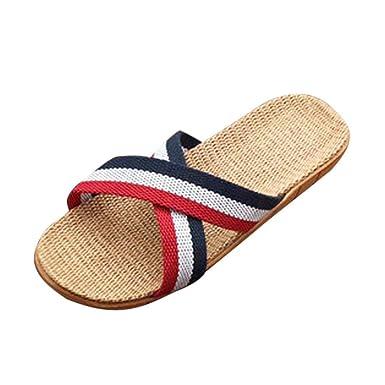 VECDY Damen Schuhe, Streifen Hausschuhe Zuhause warme Schuhe