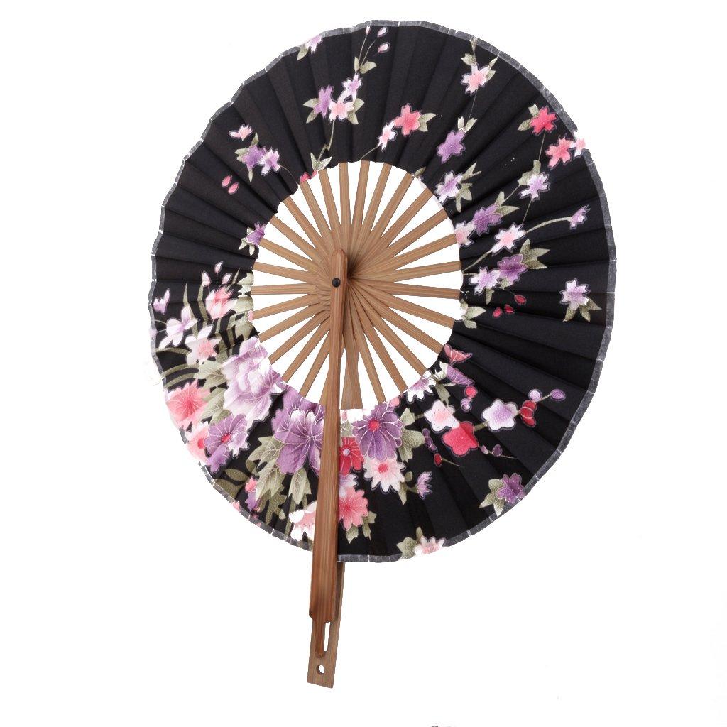 Noir Eventail Rond Motif de Sakura Fleur Eventail de Poche Cadeau D/écoration