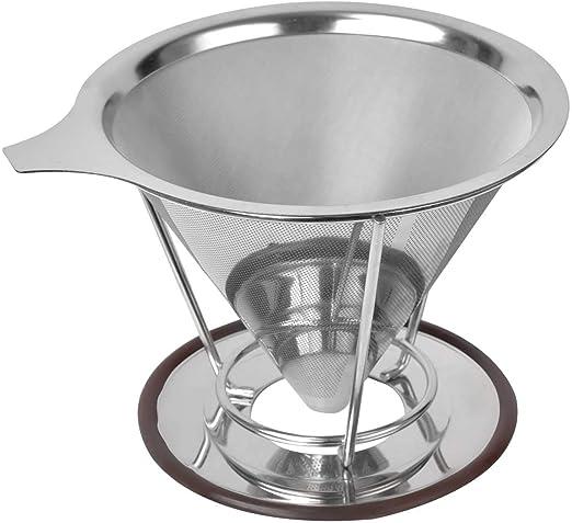 Cafetera de goteo cónico de acero inoxidable reutilizable ...