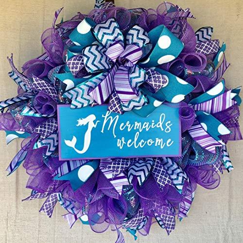 Mermaid Wreath | Everyday Summer Beach Wreath Decor | Welcome Door Hanger | Farmhouse Decor | FREE Shipping | Burlap Bowtique