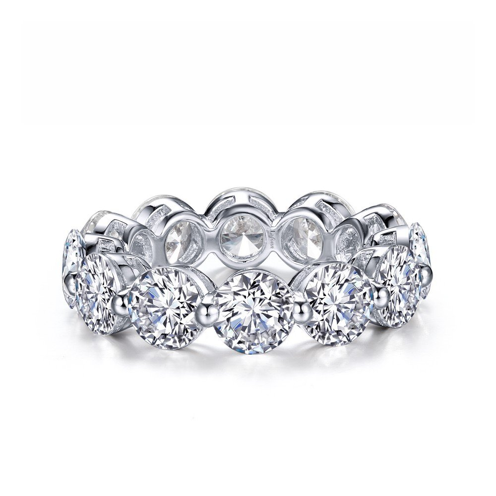 Lafonn Classic Sterling Silver Platinum Plated Simulated Diamond Ring (5.98 CTTW)