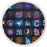 """Pixels Round Beach Towel With Tassels featuring """"Play Ball Recycled Vintage Baseball Team Logo License Plate Art"""" by Design Turnpike"""