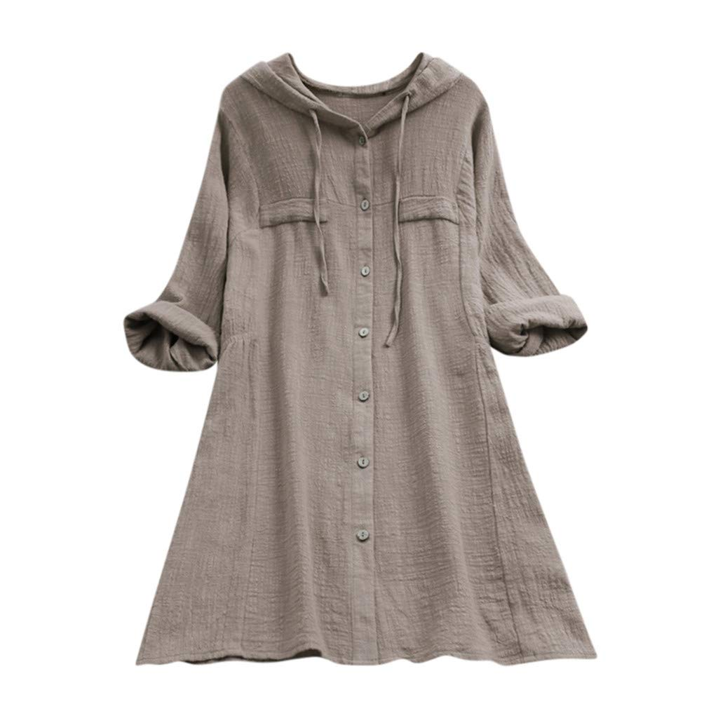 Grey HYIRI Korean Style Plus Size Cotton Tops ,Women's Casual Button Tee Shirt Hooded Pocket Loose Blouse