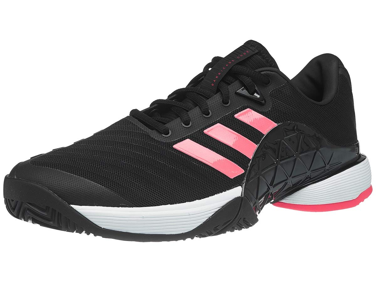 adidas Men's Barricade 2018 Tennis Shoe, Black/Black/Flash Red, 4.5 M US