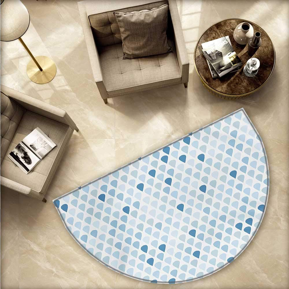 Amazon.com: Felpudo, color azul y blanco, semicircular, nudo ...
