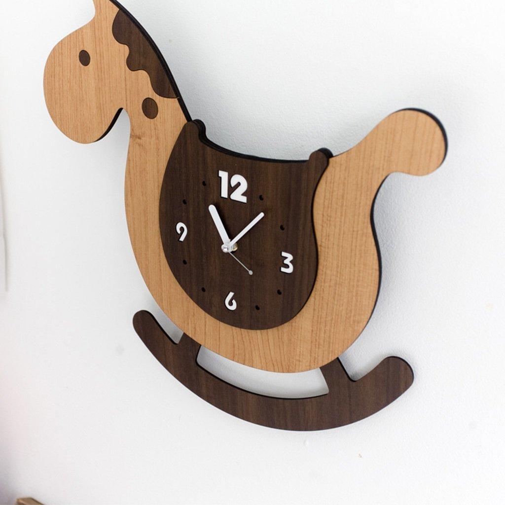 創造的な漫画の壁時計トロイの木馬かわいい子供部屋ベッドルーム幼稚園教室早期教育クラスセンターミュート時計 B07DGTNB82