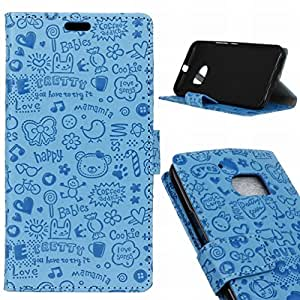 Ougger(TM) HTC One M10 Flip Funda Tapa Case,Cute Girl [COLOR PURO] Ranuras Tarjetas Stand Imán Closure Flex Carcasa + Durable PU Cuero Billetera Bumper Pouch Proteccion (Azul)