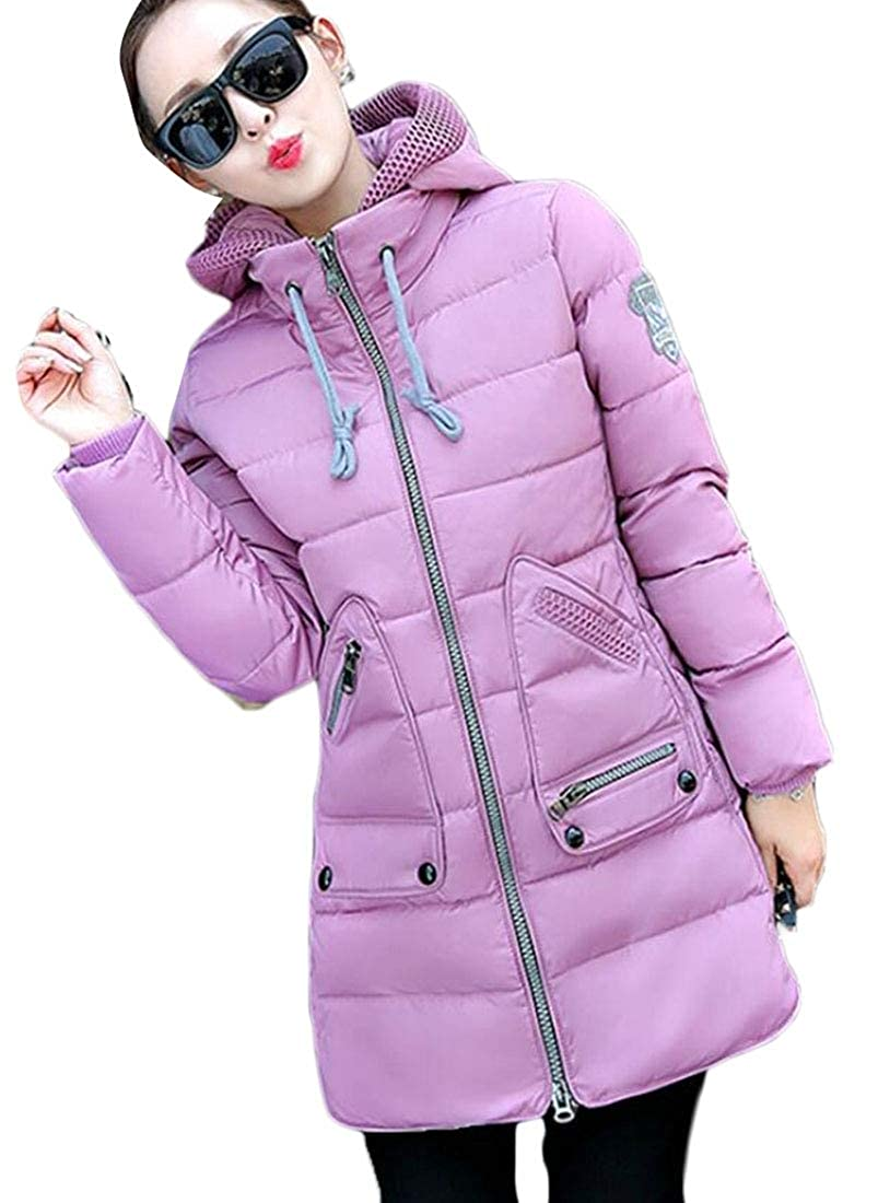 2 LEISHOP Women's Parka Jacket Quilted Down Outerwear with Removable Hood