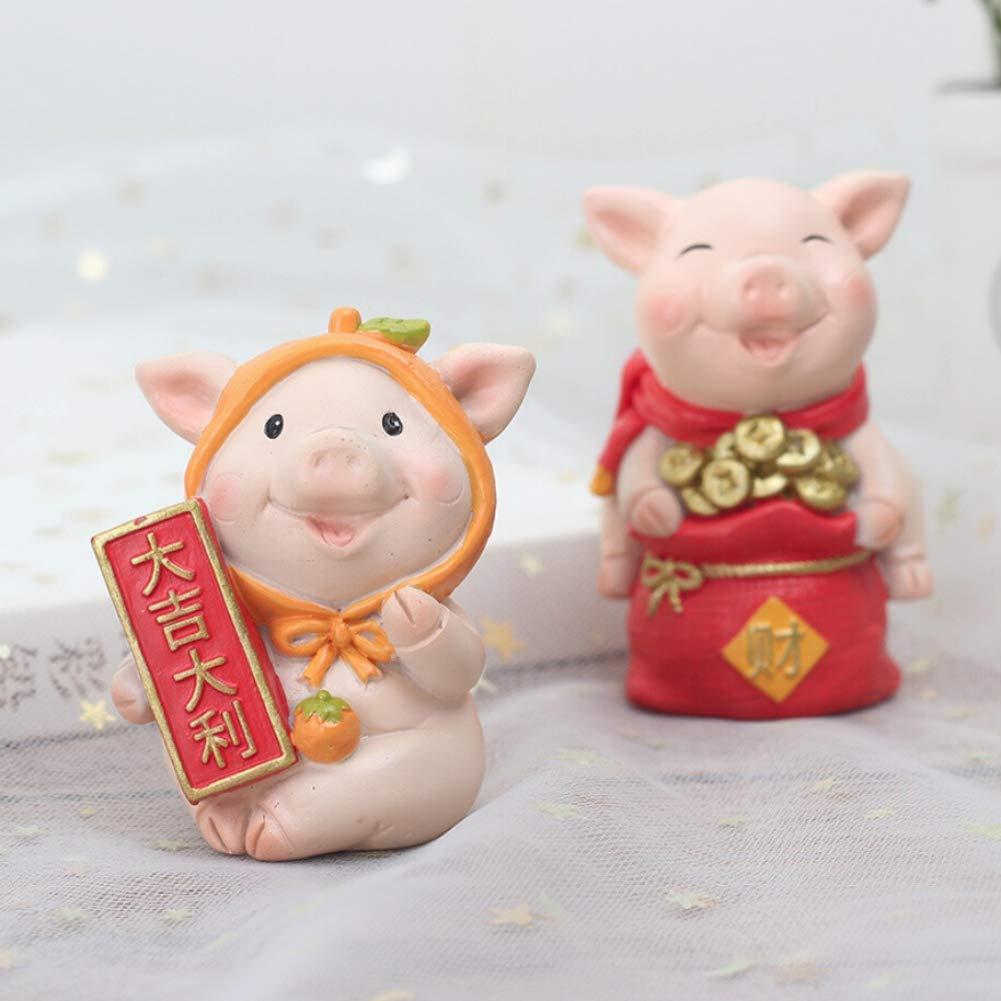 Rowentauk Miniature Animal Figurines Chinois Cochon Paysage