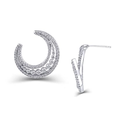 2ebc771c0 Image Unavailable. Image not available for. Color: 1 Cttw Diamond Crescent  Moon Drop Earrings in 14K White Gold ...