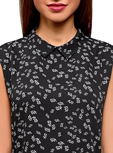 Noir en 2912f oodji Basique Femme Fluide Tissu Ultra Top 0zwqRxw1v
