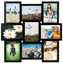 Malden International Designs Crossroads Puzzle Collage Picture Frame, 9 Option, 9-5x7, Black
