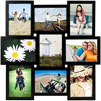 Malden International Designs Crossroads Puzzle Collage Picture Frame, 9 Option, 9-5x7, Black