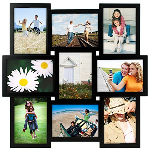 Malden International Designs Crossroads Puzzle Collage Picture Frame, 9 Option, 9-5x7, Black (X Boy Frame Photo 5 7)