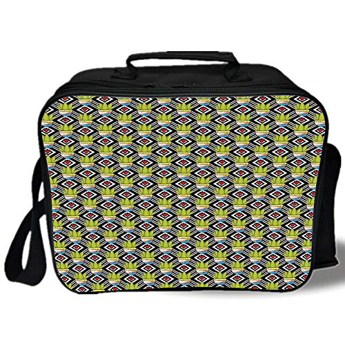 (Insulated Lunch Bag,Cactus,Love Themed Geometric Background Diamond Pattern Rectangles with Plants in Pots Decorative,Multicolor,for Work/School/Picnic, Grey)