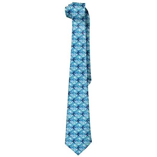 902e4ced7286 Image Unavailable. Image not available for. Color: Blue Bigfoot Men's Tie  Long Necktie Skinny Neckwear Silk