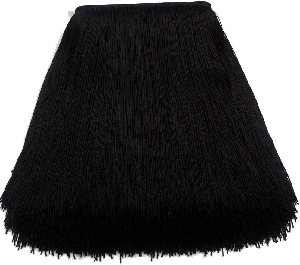 Black KOLIGHT 10yards Width 12inch Polyester Lace Tassel Fringe Trim Decoration for Latin Dress Stage Clothes Lamp Shade