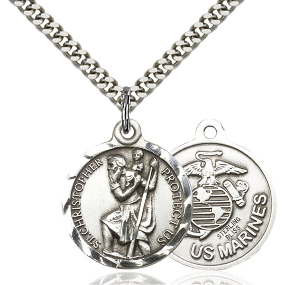 Sterling Silver St. Christopher Pendant 7/8 x 3/4 inches with Heavy Curb Chain Bliss Manufacturing 0192SS4/24S