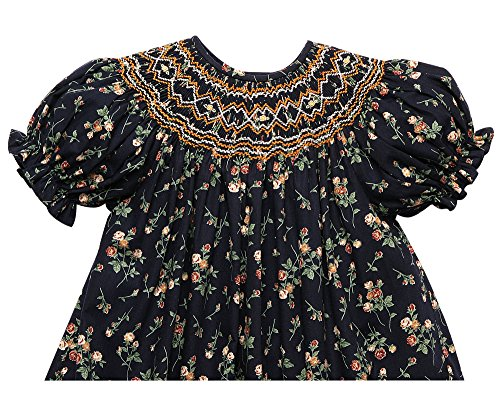 Rosalina Girl's Flower Print Navy Blue English Hand Smocked Fall Bishop Dress 2T