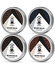 Beard Balm Variety Pack of 4 (Vanilla, Sandalwood, Cedarwood, Citrus) – Soften, Style, and Strengthen Beards and Mustaches – Made with Tea Tree, Jojoba, & Argan Oils - 1oz Each – Scented Beard Butter