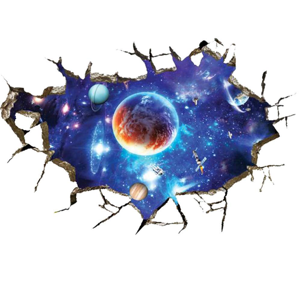 3D Space Galaxy Wall Stickers,Window View Removable Home Art Decor Bedroom Rooms Ceiling Living Room Nursery
