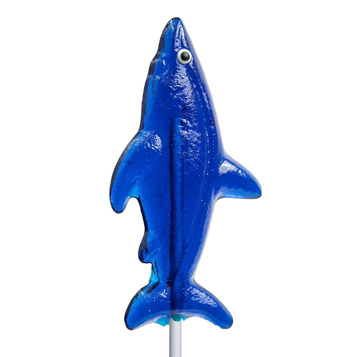 Shark Shaped Hard Candy Lollipop Blue Raspberry Flavored 100% Made In USA (24 Count)