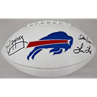 $346 » Jim Kelly, Thurman Thomas & Andre Reed Autographed White Logo Buffalo Bills Football JSA Witness Stock #178097 - Autographed Footballs