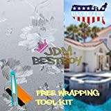 Free Tool Kit EZAUTOWRAP Flower Frosted Glass Peel And Stick Window Film Home Bedroom Bathroom Privacy Waterproof Sticker Decal - 48''X240'' (4FT X 20FT)