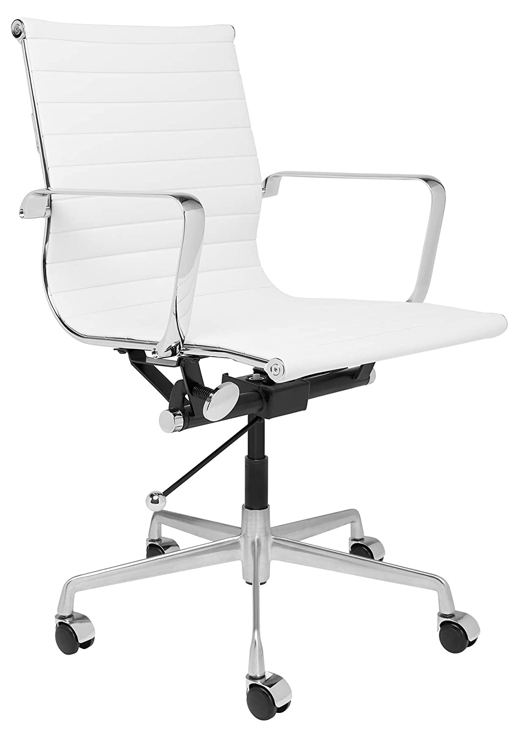 SOHO Mid Century Modern Ribbed Management Office Chair (White)