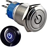 "Ulincos Latching Pushbutton Switch U19C1 1NO1NC SPDT ON/OFF Silver Stainless Steel with Blue LED Suitable for 19mm 3/4"" Mounting Hole (Blue)"