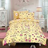 Todd Linens Kids 2 in 1 Reversible Quilt Duvet Cover and Pillowcase Bedding Bed Set Polycotton New colourful Designs (Princess Crown Cream, Single)