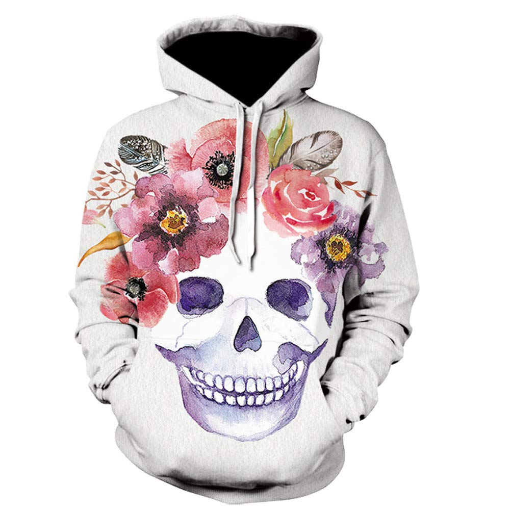 Men Women Flowers Skull 3D Printed Hooded Sweatshirt Skeleton Pattern Long Sleeve Pullover Hoodies Tops TiTCool