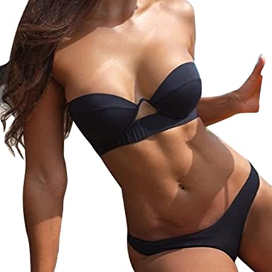 97466240ba Fathoit Femmes Sexy Bikini Ensemble Push-Up Rembourré Hors Épaule Creux V  Cou Maillots De Bain Maillot De Bain Bain Solide Plage Vêtements de Corde  Maillot ...