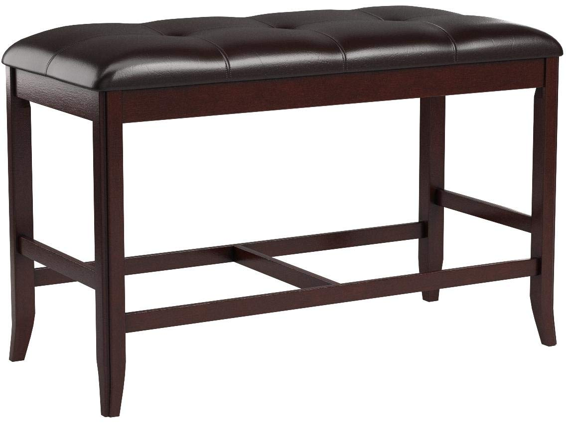 Poundex Counter Height Dining Bench in Deep Brown Finish by Poundex