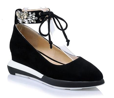 Ms. primavera scarpe ascensore scarpe femminili pendenza diamante pizzo con  rotonde della bocca poco profonda 73910f1be59f