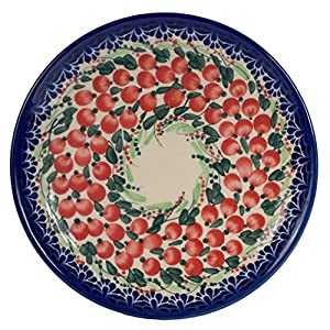 Traditional Polish Pottery, Handcrafted Ceramic Dessert Plate 19cm, Boleslawiec Style Pattern, T.102.Cranberry