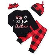 b42f4dd012666 Newborn Baby Boy Girl Clothes Little Man Long Sleeve Romper,Plaid Pants +  Cute Hat 3pcs Outfit Set (A-Black + red, 0-6 Months)