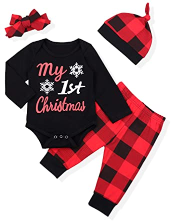 1bbbf4a9d my first christmas baby infant outfit boy girl romper hat cap 6 24 ...