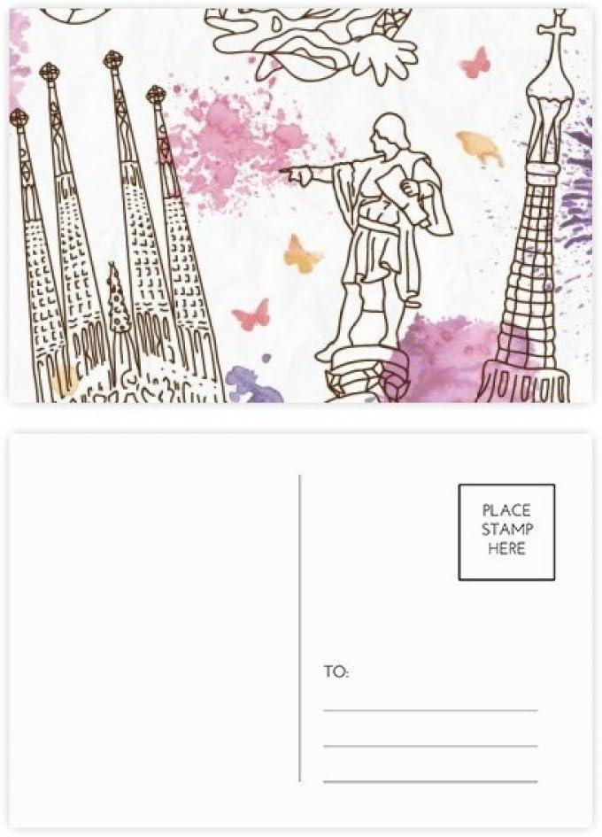 DIYthinker Barcelona, España estatua Catedral de fútbol tarjetas postales conjunto de la tarjeta de cumpleaños de correo Gracias lateral 20Pcs 5,7 pulgadas x 3,8 pulgadas Multicolor: Amazon.es: Oficina y papelería