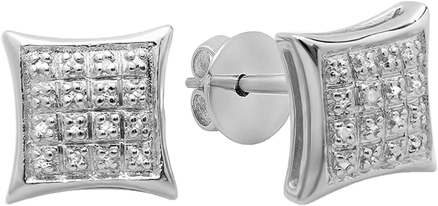 Men Kite Shape Sterling Silver Lab Diamond Screw On Back Hip Hop Stud Earrings